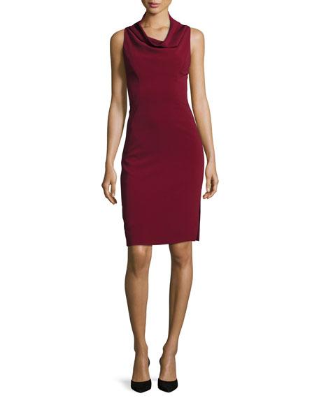 Cowl Neck Sheath Dresses: Milly Sleeveless Cowl-Neck Sheath Dress, Bordeaux