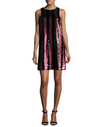 Sleeveless Paillette-Striped Mini Shift Dress, Red/Black