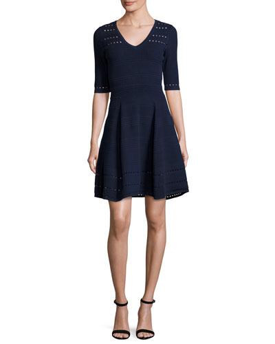 Textured Half-Sleeve Mixed-Stitch A-line Dress, Navy