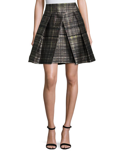 Kayla Confetti-Check Pleated Mini Skirt, Black