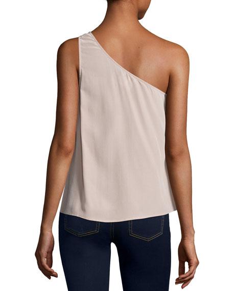 Romana One-Shoulder Silk Blouse, Dusty Mink
