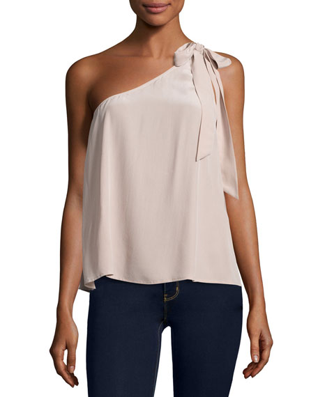 Romana One-Shoulder Silk Blouse, Dusty Mink