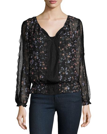 Joie Grazia Floral-Print Silk Blouson Top, Caviar