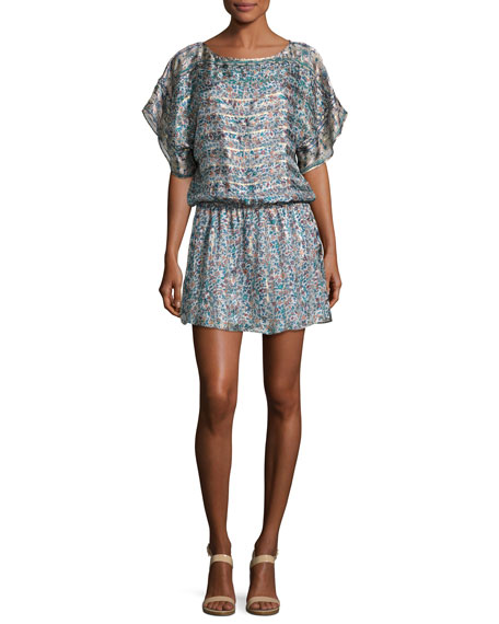 Joie Sofinne Floral-Print Blouson Silk Minidress, Dusty Mink