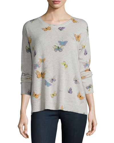 Eloisa Butterfly-Print Crewneck Cashmere Sweater, Heather Stonemist