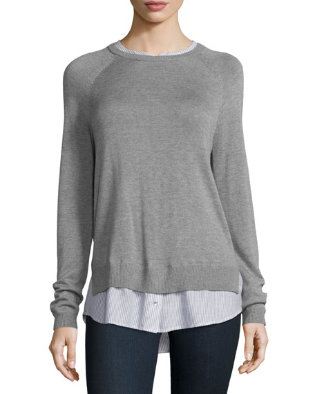 Zaan D Sweater-Shirt Combo Top, Heather Gray/Celestial