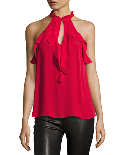 Gina High-Neck Crepe Top