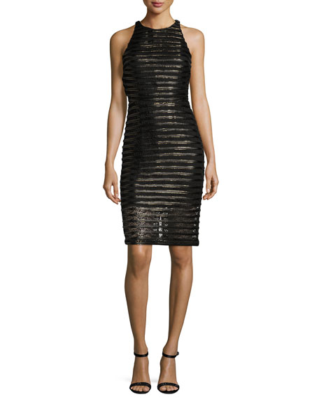 Braelyn Metallic-Stripe Cocktail Dress