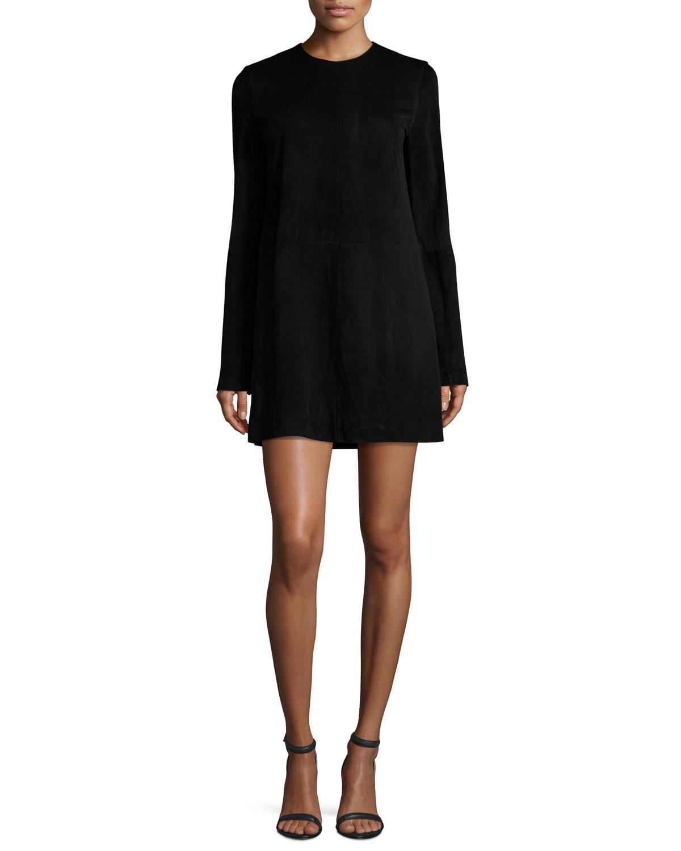 c0019e029c Theory Komiza Tilde Studded-Sleeve Suede Shift Dress | Neiman Marcus