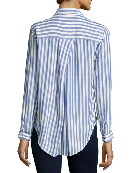 Aly Striped Oxford Shirt, Blue/White