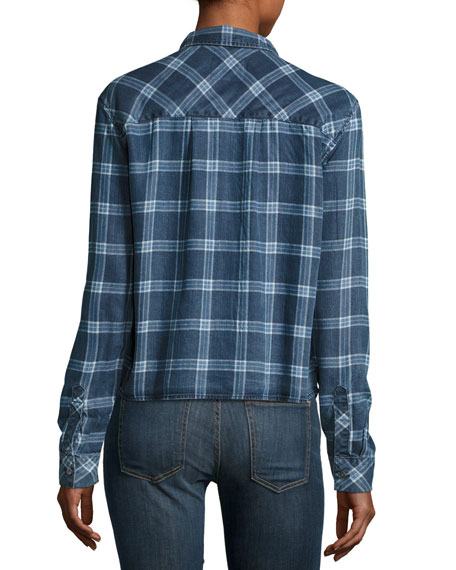 Dana Grid-Print Denim Shirt, Midnight Grid