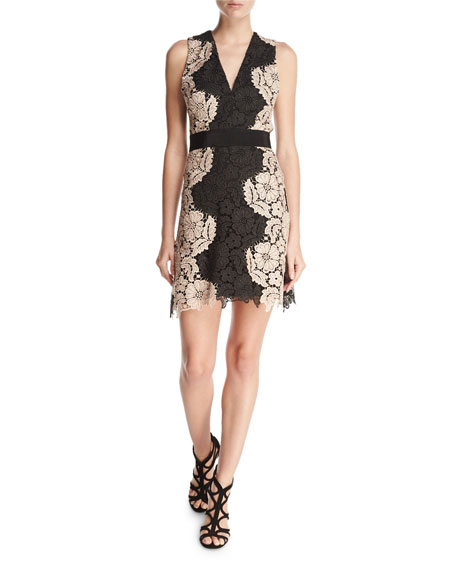 Alice Olivia Patrice Two Tone Lace Cocktail Dress