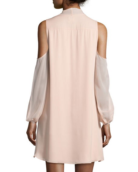 The Vida Cold-Shoulder Silk Mini Dress, Pale Pink