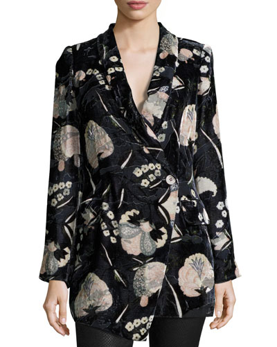 Bond Floral Velour Blazer, Solitaire Burnout