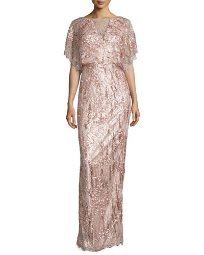 Loma Embellished Dolman-Sleeve Gown, Oyster