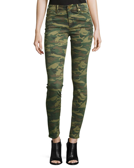 Halle Mid-Rise Super Skinny Jeans, Green Destroyed Camo