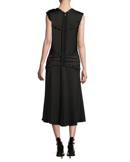 Embellished Crepe Midi Dress