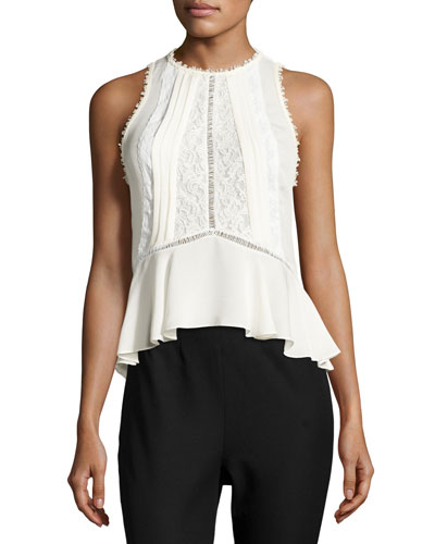 Sleeveless Georgette & Lace Top, Chalk