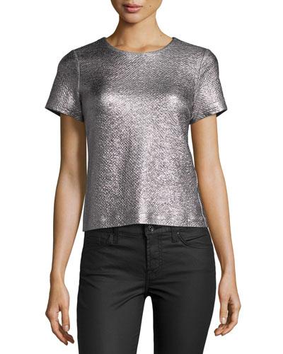 Textured Metallic Short-Sleeve Top