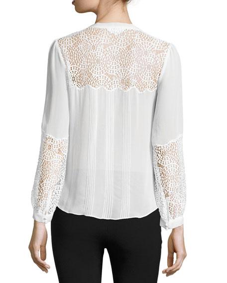 Lace-Inset Long-Sleeve Chiffon Top, Chalk