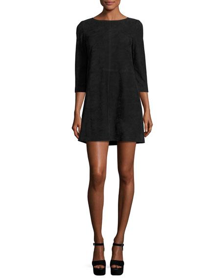Alice Olivia Tamar Suede Boat Neck Shift Dress Black