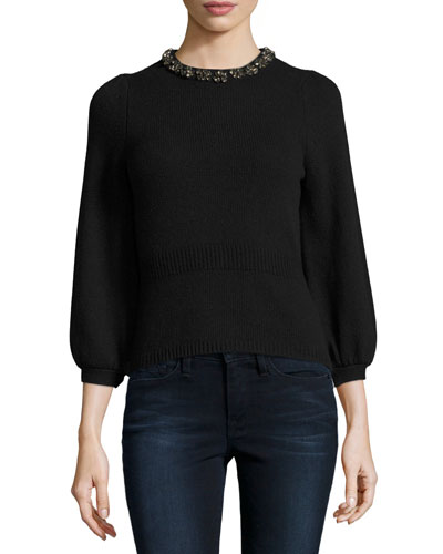 Embellished 3/4-Sleeve Pullover, Black