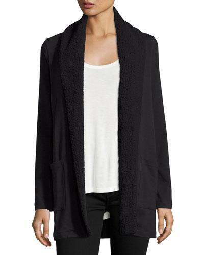 Collared Open-Front Coat, Black