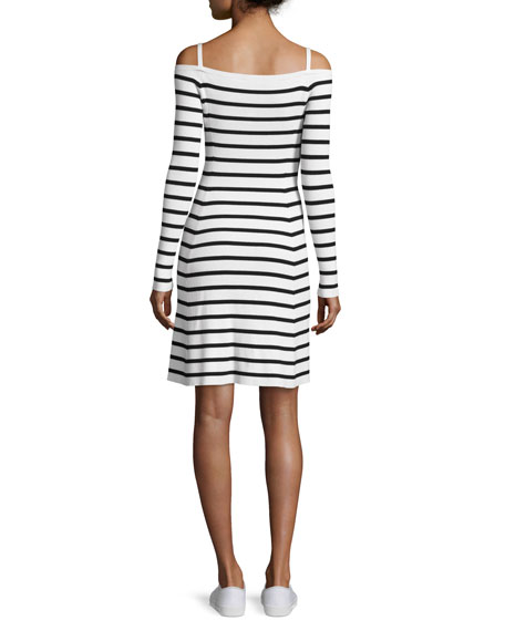 Pirellia Prosecco Striped Cold-Shoulder Dress
