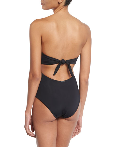 Lace-Up One-Piece Swimsuit, Black