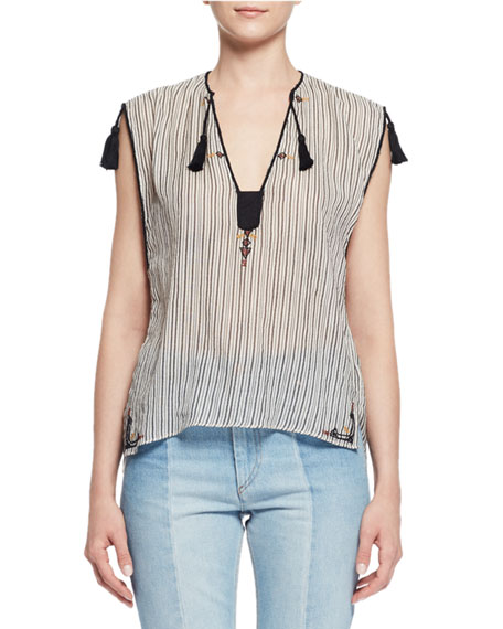 Etoile Isabel Marant Judith Sleeveless Striped Tassel Top,