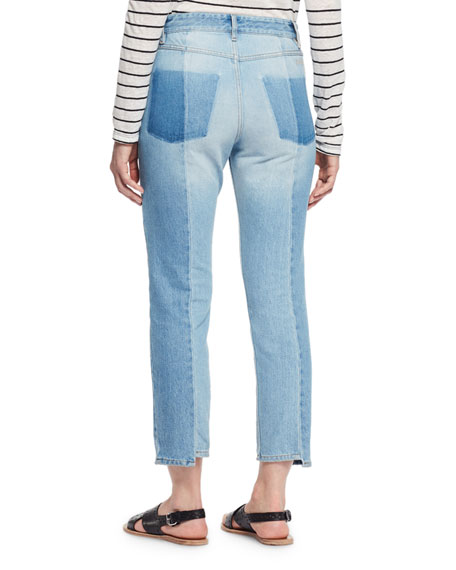 Etoile Isabel Marant Clancy Cropped Denim Jeans, Light Blue