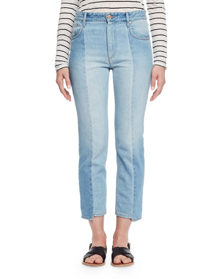 Etoile Isabel Marant Clancy Cropped Denim Jeans, Light