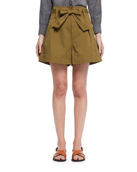 Etoile Isabel Marant Oscar Paperbag-Waist Wide-Leg Twill Shorts,