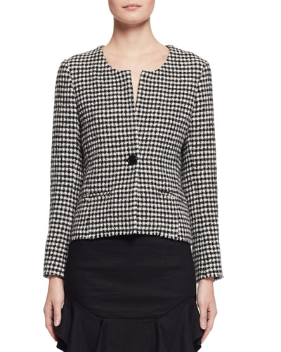 Lyra Houndstooth Blazer, Black/White