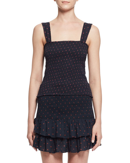 Etoile Isabel Marant Manon Sleeveless Shirred Polka-Dot Top