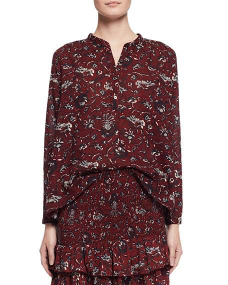 Amaria Long-Sleeve Floral Blouse, Burgundy/Gray