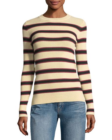 Derring Striped Fitted Pullover Sweater, Ecru/Black Compare Price