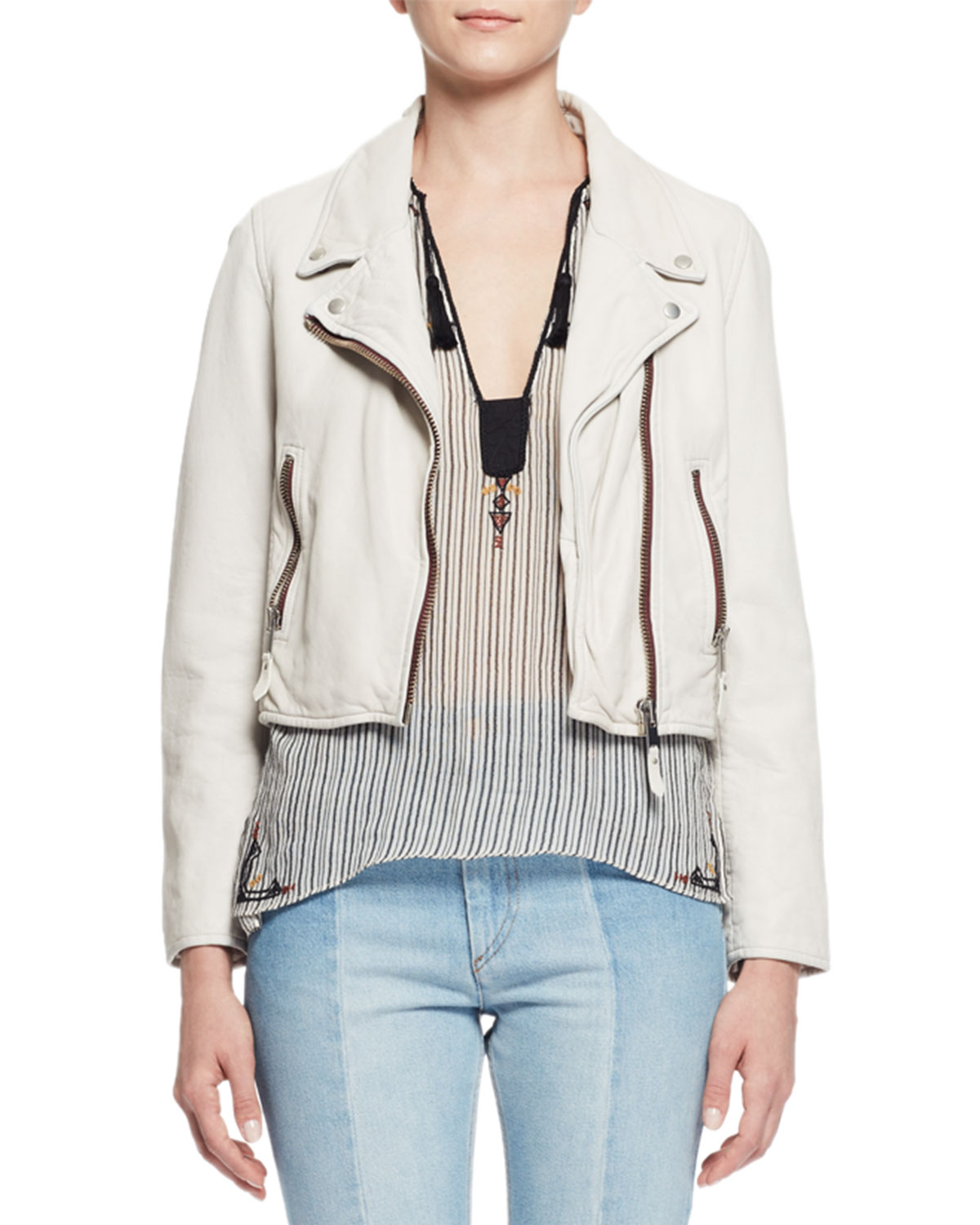 Etoile Isabel Marant Aken Cropped Leather Jacket, Chalk ...
