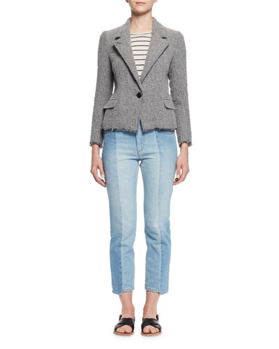 Ela Textured Raw-Edge Blazer, Gray Sale