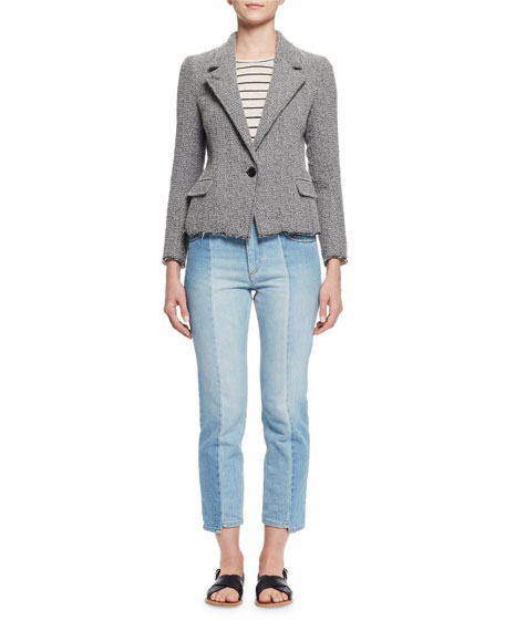Ela Textured Raw-Edge Blazer, Gray