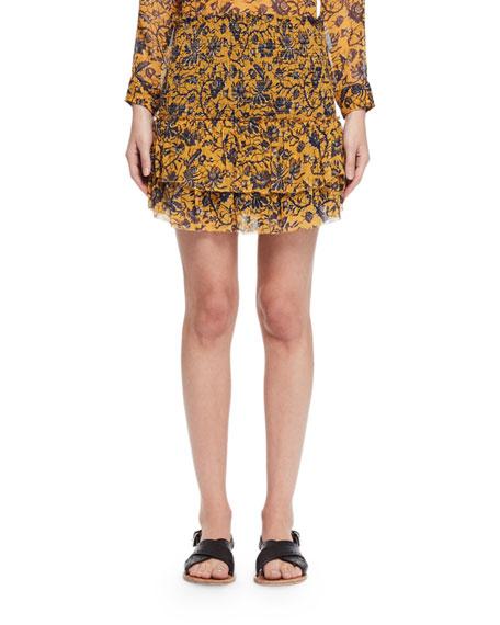 Brinley Tiered Floral Silk Skirt, Yellow