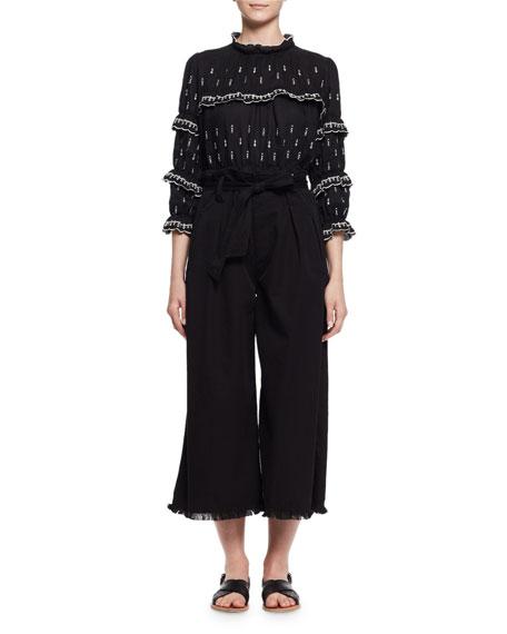 Odea Paperbag-Waist Wide-Leg Twill Pants, Black