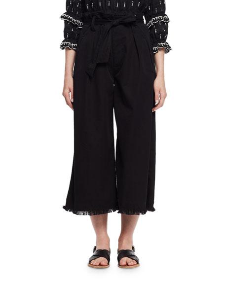 Etoile Isabel Marant Odea Paperbag-Waist Wide-Leg Twill Pants,