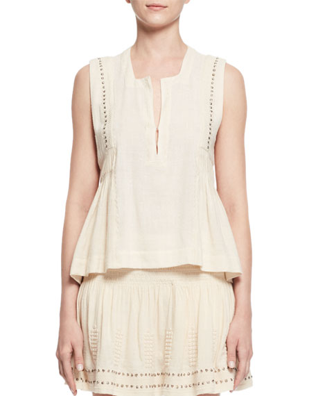 Etoile Isabel Marant Adonis Sleeveless Studded Jersey Top,