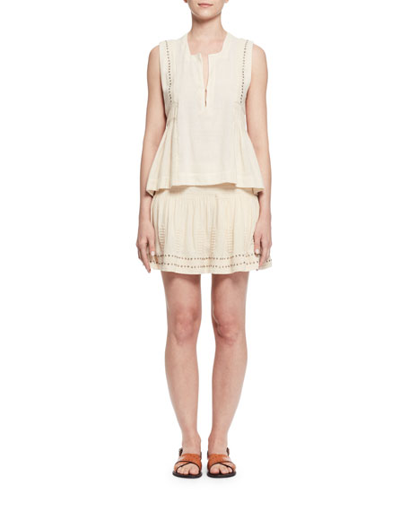 Alea Studded Jersey Mini Skirt, Ecru