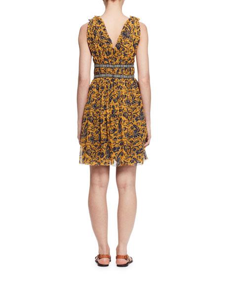 Balzan Sleeveless Floral Silk Dress, Yellow