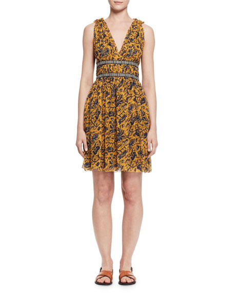 Balzan Sleeveless Floral Silk Dress, Yellow