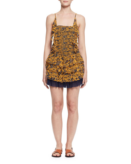 Batson Tiered Floral Silk Mini Dress, Yellow