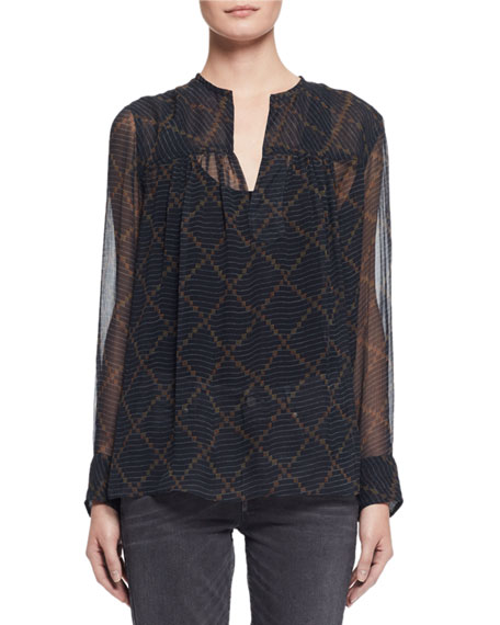 Etoile Isabel Marant Bowtie Long-Sleeve Patterned Silk Tunic,