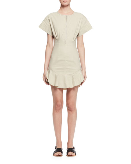 Neit Short-Sleeve Stretch Poplin Flounce Dress, Ecru